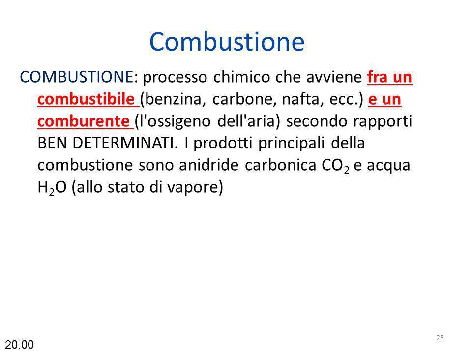 Combustione COMBUSTIONE: processo chimico che avviene fra un combustibile (benzina, carbone, nafta, ecc.) e un comburente (l'ossigeno dell'aria) secon