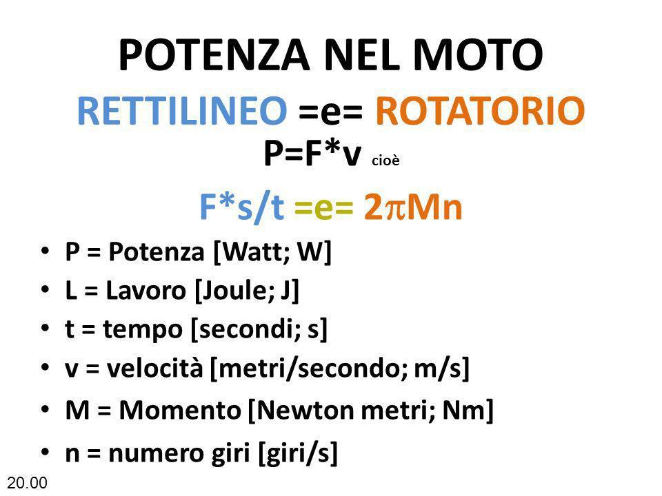 POTENZA NEL MOTO RETTILINEO =e= ROTATORIO P=F*v cioè F*s/t =e= 2 Mn P = Potenza [Watt; W] L = Lavoro [Joule; J] t = tempo [secondi; s] v = velocità [m