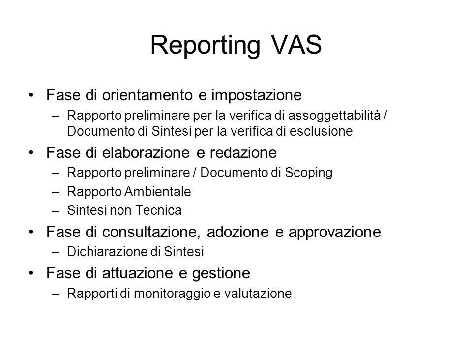 Reporting VAS Fase di orientamento e impostazione –Rapporto preliminare per la verifica di assoggettabilità / Documento di Sintesi per la verifica di