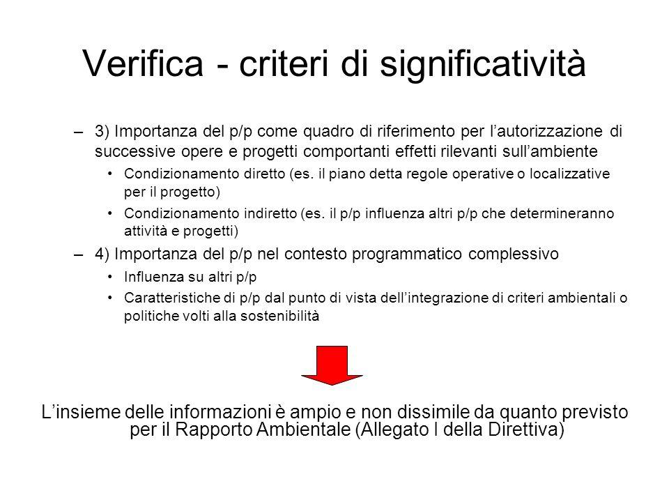 Verifica - criteri di significatività –3) Importanza del p/p come quadro di riferimento per lautorizzazione di successive opere e progetti comportanti
