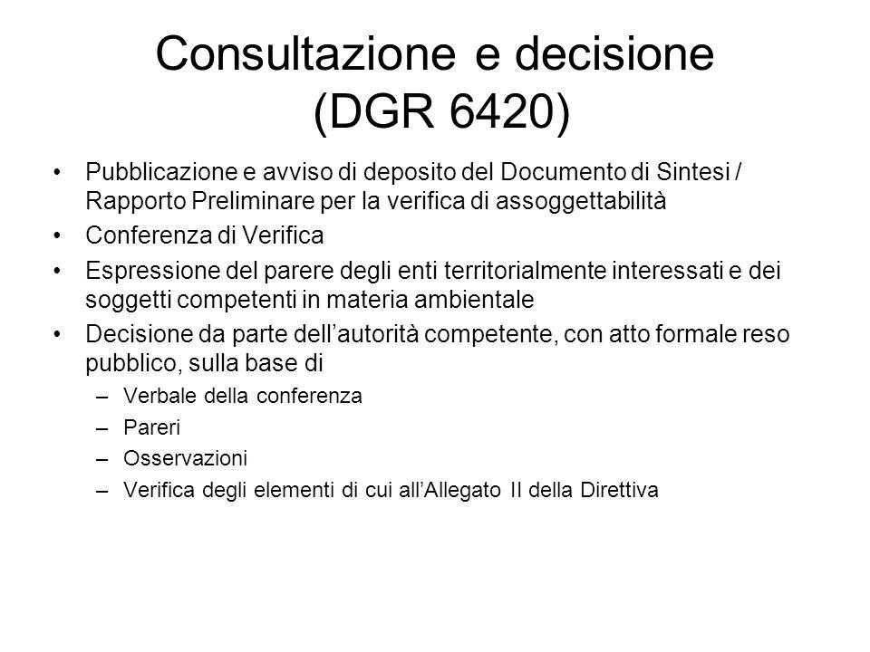 Consultazione e decisione (DGR 6420) Pubblicazione e avviso di deposito del Documento di Sintesi / Rapporto Preliminare per la verifica di assoggettab