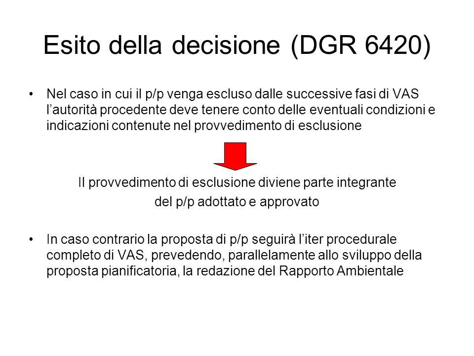 Esito della decisione (DGR 6420) Nel caso in cui il p/p venga escluso dalle successive fasi di VAS lautorità procedente deve tenere conto delle eventu