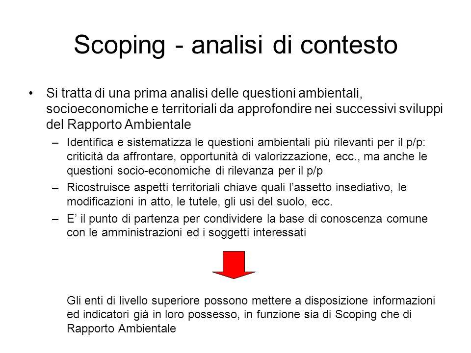 Scoping - analisi di contesto Si tratta di una prima analisi delle questioni ambientali, socioeconomiche e territoriali da approfondire nei successivi