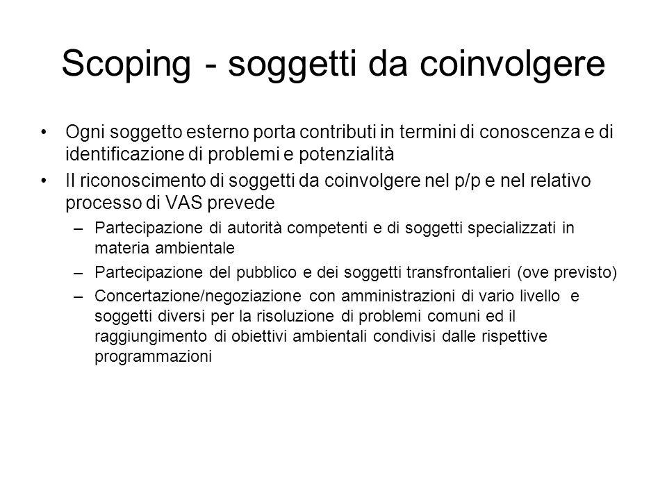 Scoping - soggetti da coinvolgere Ogni soggetto esterno porta contributi in termini di conoscenza e di identificazione di problemi e potenzialità Il r