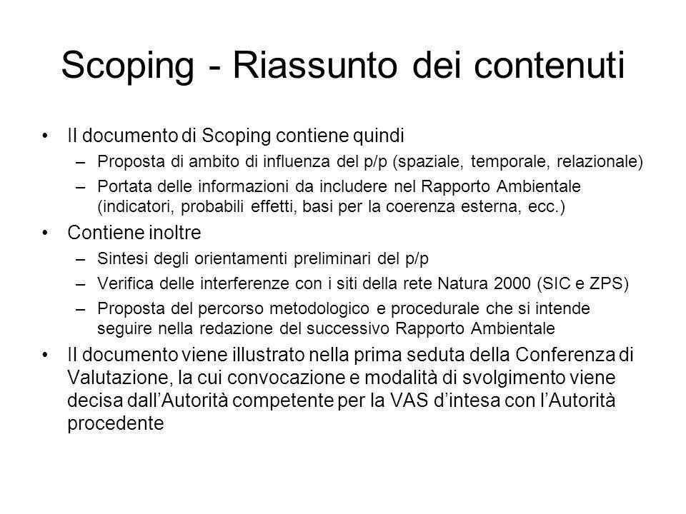 Scoping - Riassunto dei contenuti Il documento di Scoping contiene quindi –Proposta di ambito di influenza del p/p (spaziale, temporale, relazionale)