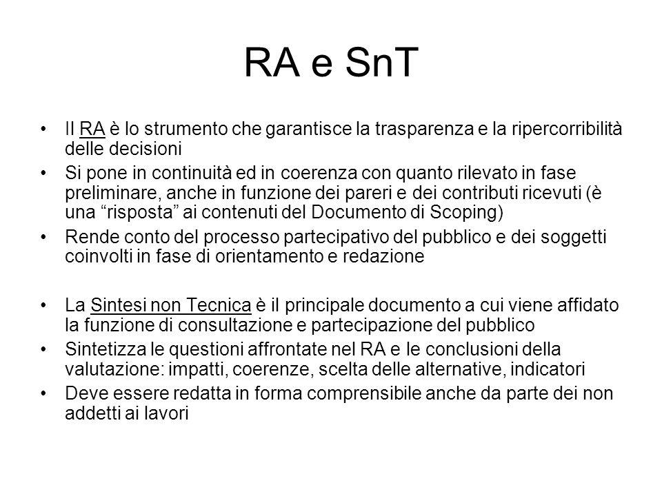 RA e SnT Il RA è lo strumento che garantisce la trasparenza e la ripercorribilità delle decisioni Si pone in continuità ed in coerenza con quanto rile
