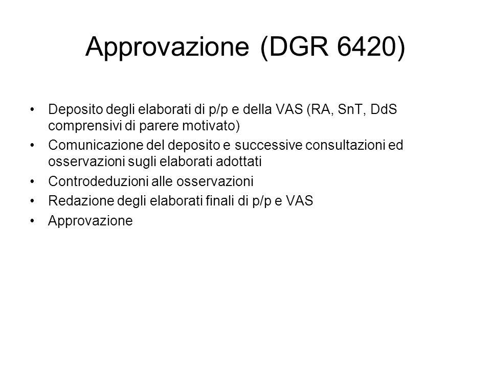 Approvazione (DGR 6420) Deposito degli elaborati di p/p e della VAS (RA, SnT, DdS comprensivi di parere motivato) Comunicazione del deposito e success