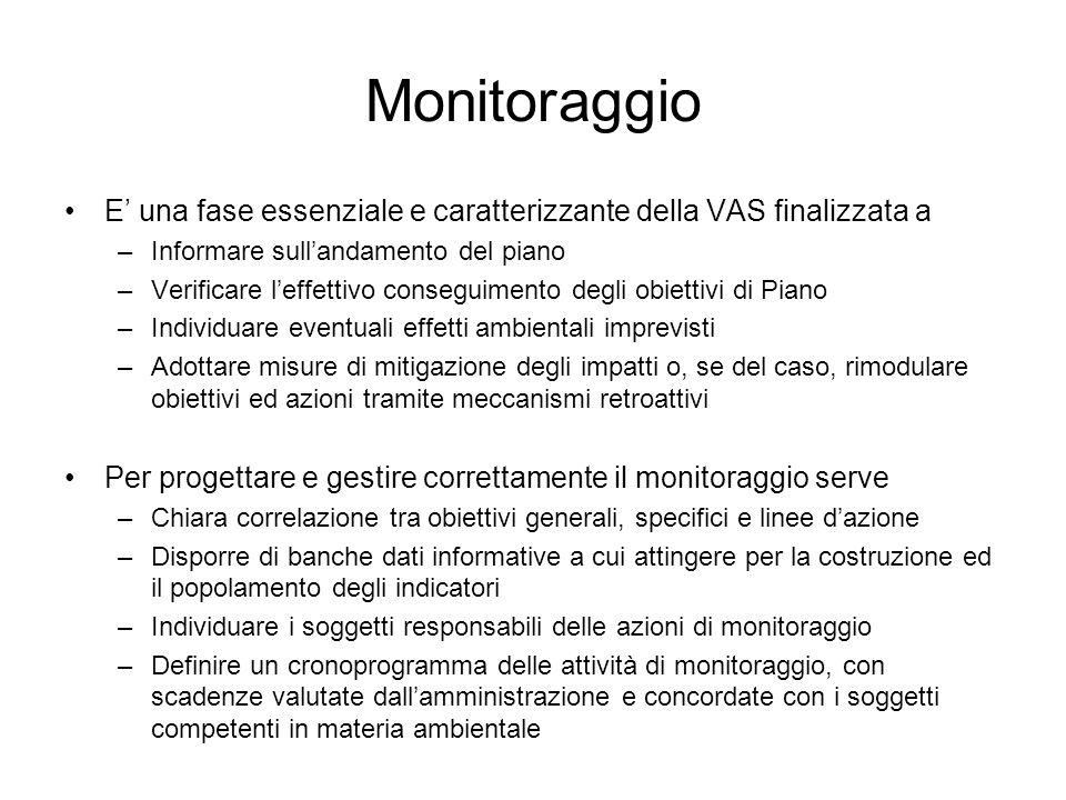 Monitoraggio E una fase essenziale e caratterizzante della VAS finalizzata a –Informare sullandamento del piano –Verificare leffettivo conseguimento d