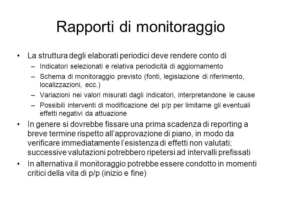 Rapporti di monitoraggio La struttura degli elaborati periodici deve rendere conto di –Indicatori selezionati e relativa periodicità di aggiornamento
