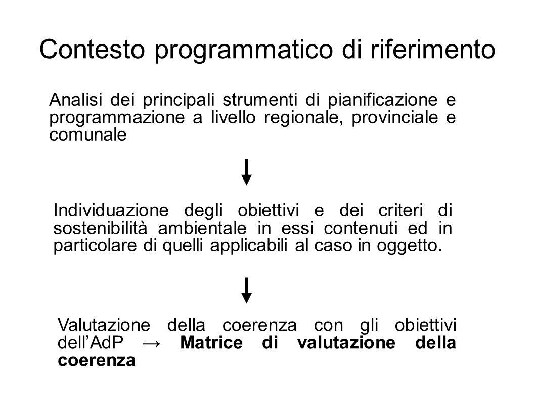 Individuazione degli obiettivi e dei criteri di sostenibilità ambientale in essi contenuti ed in particolare di quelli applicabili al caso in oggetto.