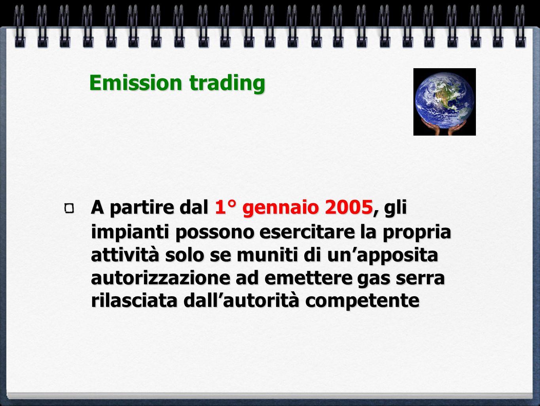A partire dal 1° gennaio 2005, gli impianti possono esercitare la propria attività solo se muniti di unapposita autorizzazione ad emettere gas serra r
