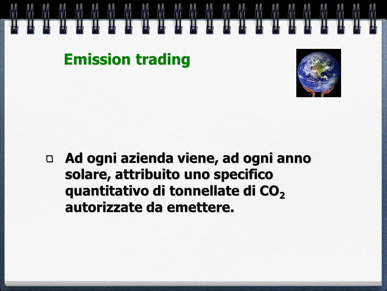 Ad ogni azienda viene, ad ogni anno solare, attribuito uno specifico quantitativo di tonnellate di CO 2 autorizzate da emettere. Emission trading