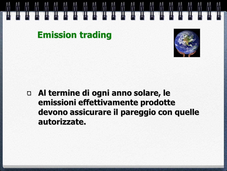 Al termine di ogni anno solare, le emissioni effettivamente prodotte devono assicurare il pareggio con quelle autorizzate. Emission trading