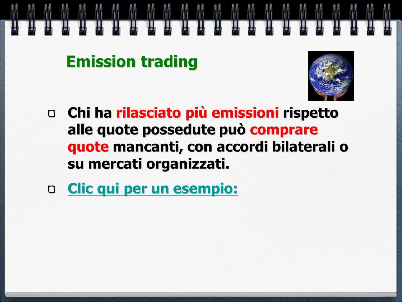 Chi ha rilasciato più emissioni rispetto alle quote possedute può comprare quote mancanti, con accordi bilaterali o su mercati organizzati. Clic qui p