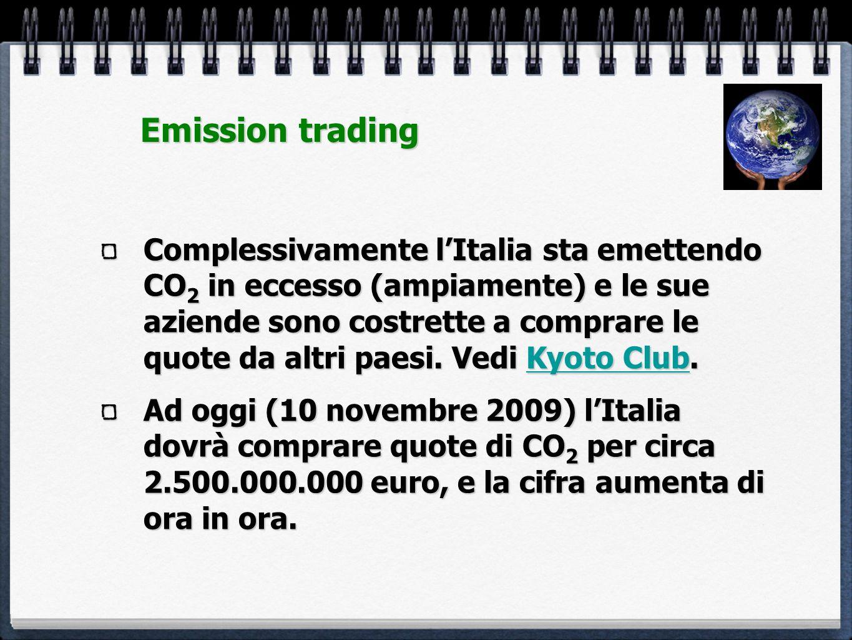 Complessivamente lItalia sta emettendo CO 2 in eccesso (ampiamente) e le sue aziende sono costrette a comprare le quote da altri paesi. Vedi Kyoto Clu