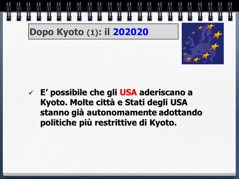 E possibile che gli USA aderiscano a Kyoto. Molte città e Stati degli USA stanno già autonomamente adottando politiche più restrittive di Kyoto. E pos