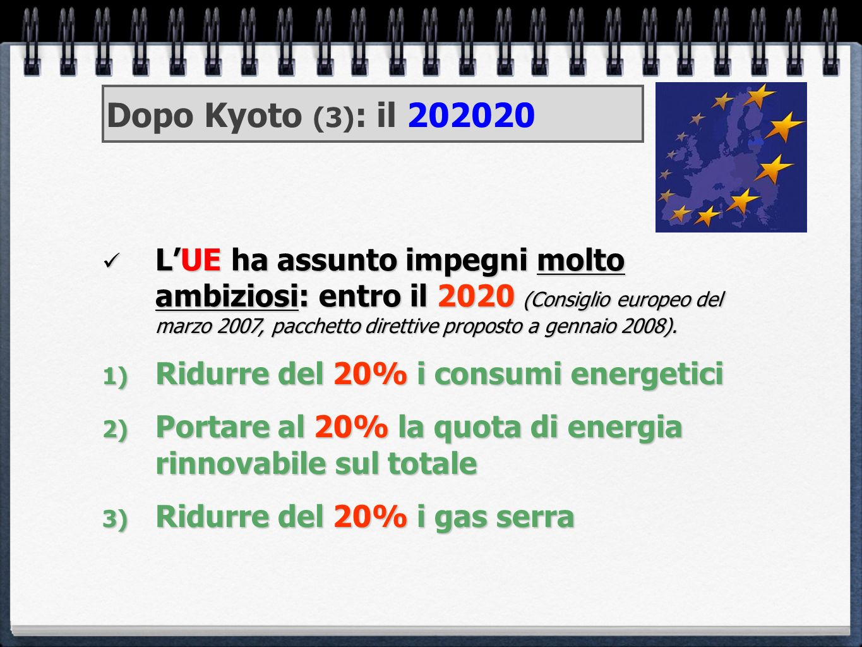 LUE ha assunto impegni molto ambiziosi: entro il 2020 (Consiglio europeo del marzo 2007, pacchetto direttive proposto a gennaio 2008). LUE ha assunto