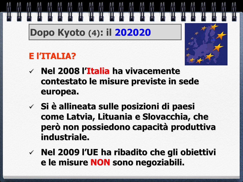 E lITALIA? Nel 2008 lItalia ha vivacemente contestato le misure previste in sede europea. Nel 2008 lItalia ha vivacemente contestato le misure previst