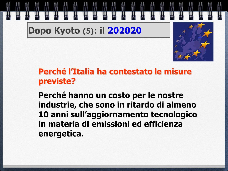 Perché lItalia ha contestato le misure previste? Perché hanno un costo per le nostre industrie, che sono in ritardo di almeno 10 anni sullaggiornament