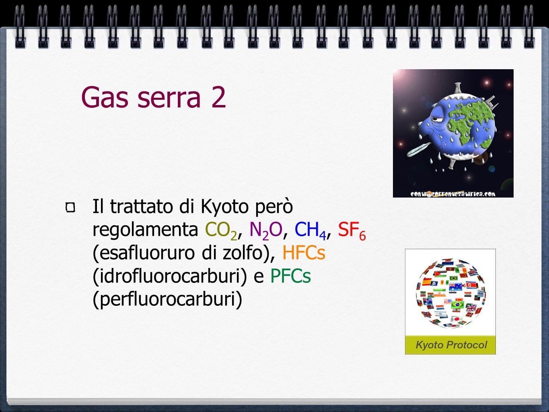 Gas serra 2 Il trattato di Kyoto però regolamenta CO 2, N 2 O, CH 4, SF 6 (esafluoruro di zolfo), HFCs (idrofluorocarburi) e PFCs (perfluorocarburi)