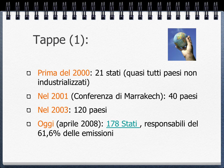 Tappe (1): Prima del 2000: 21 stati (quasi tutti paesi non industrializzati) Nel 2001 (Conferenza di Marrakech): 40 paesi Nel 2003: 120 paesi Oggi (ap