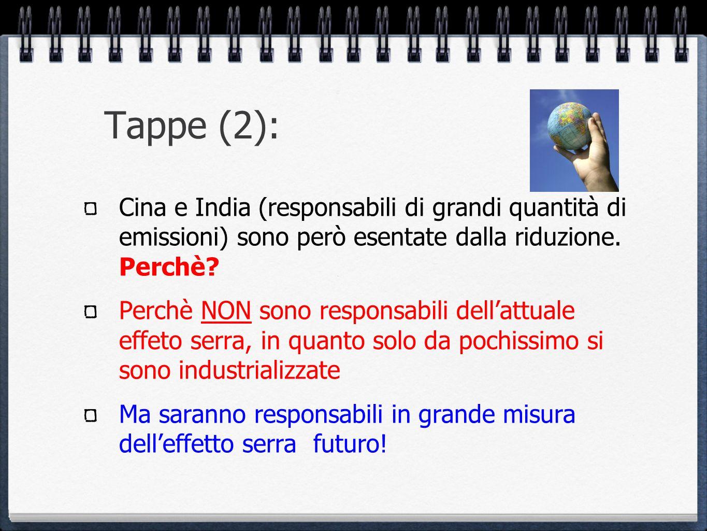 Tappe (2): Cina e India (responsabili di grandi quantità di emissioni) sono però esentate dalla riduzione. Perchè? Perchè NON sono responsabili dellat
