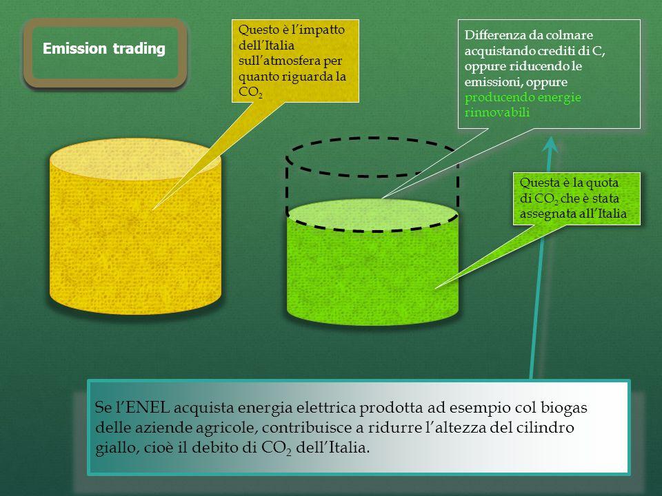 Se lENEL acquista energia elettrica prodotta ad esempio col biogas delle aziende agricole, contribuisce a ridurre laltezza del cilindro giallo, cioè il debito di CO 2 dellItalia.