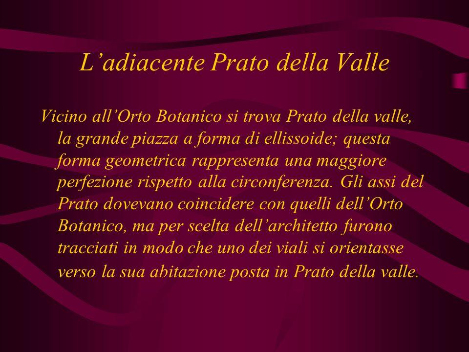 Ladiacente Prato della Valle Vicino allOrto Botanico si trova Prato della valle, la grande piazza a forma di ellissoide; questa forma geometrica rappresenta una maggiore perfezione rispetto alla circonferenza.
