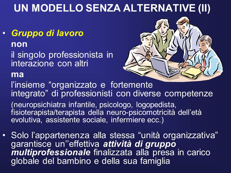 UN MODELLO SENZA ALTERNATIVE (II) Gruppo di lavoro non il singolo professionista in interazione con altri ma linsieme organizzato e fortemente integra