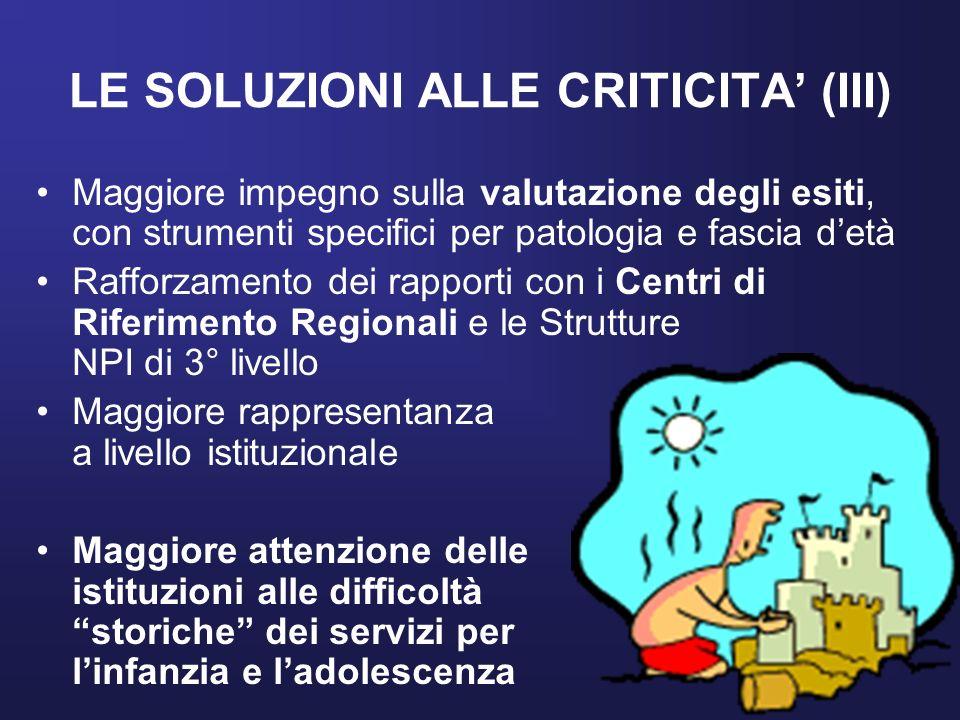 LE SOLUZIONI ALLE CRITICITA (III) Maggiore impegno sulla valutazione degli esiti, con strumenti specifici per patologia e fascia detà Rafforzamento de