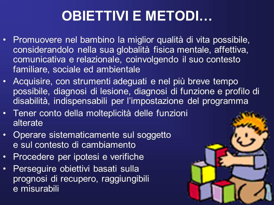 OBIETTIVI E METODI… Promuovere nel bambino la miglior qualità di vita possibile, considerandolo nella sua globalità fisica mentale, affettiva, comunic