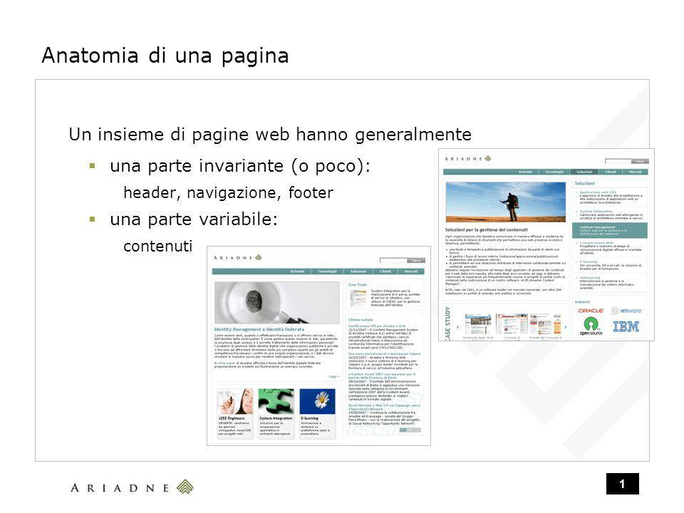 1 Anatomia di una pagina Un insieme di pagine web hanno generalmente una parte invariante (o poco): header, navigazione, footer una parte variabile: contenuti
