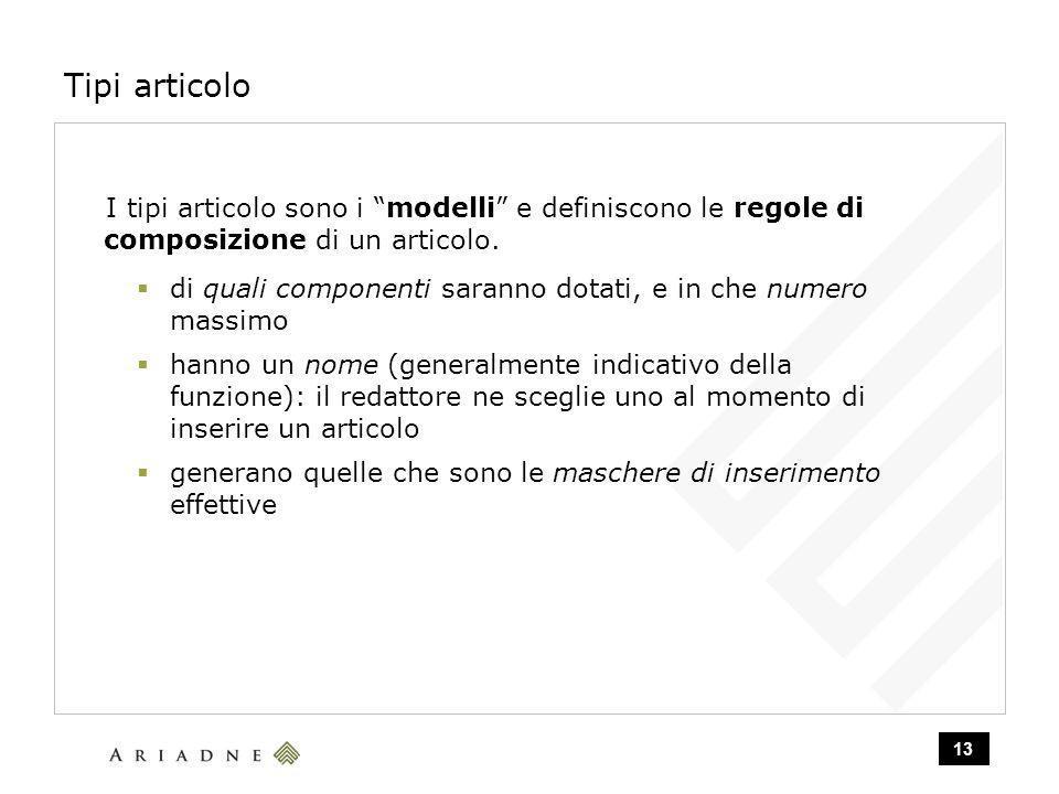 13 Tipi articolo I tipi articolo sono i modelli e definiscono le regole di composizione di un articolo.