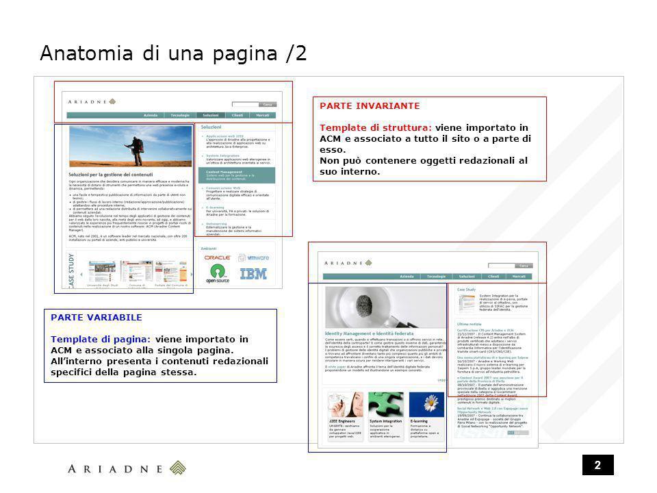 2 Anatomia di una pagina /2 PARTE INVARIANTE Template di struttura: viene importato in ACM e associato a tutto il sito o a parte di esso.