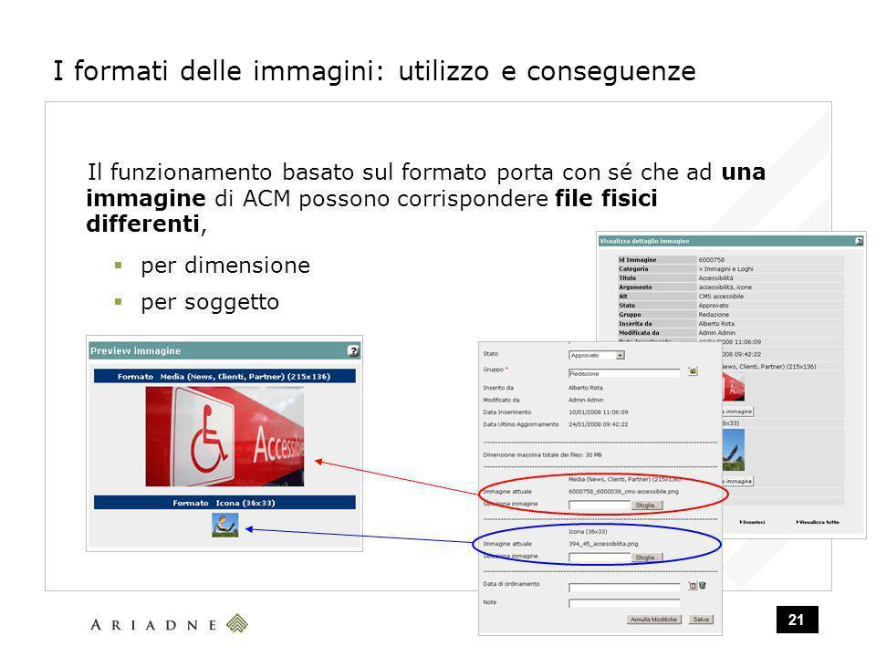 21 I formati delle immagini: utilizzo e conseguenze Il funzionamento basato sul formato porta con sé che ad una immagine di ACM possono corrispondere file fisici differenti, per dimensione per soggetto