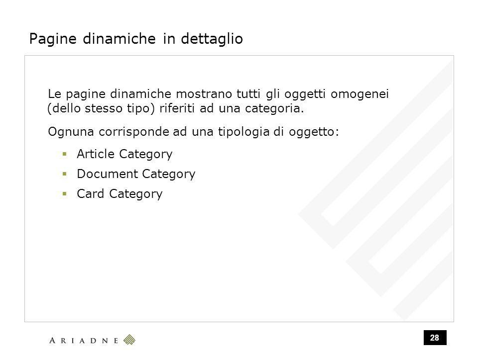 28 Pagine dinamiche in dettaglio Le pagine dinamiche mostrano tutti gli oggetti omogenei (dello stesso tipo) riferiti ad una categoria.