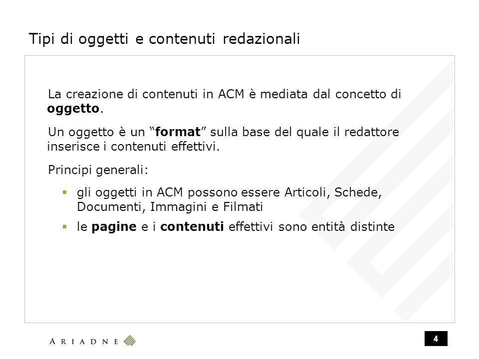 4 Tipi di oggetti e contenuti redazionali La creazione di contenuti in ACM è mediata dal concetto di oggetto.