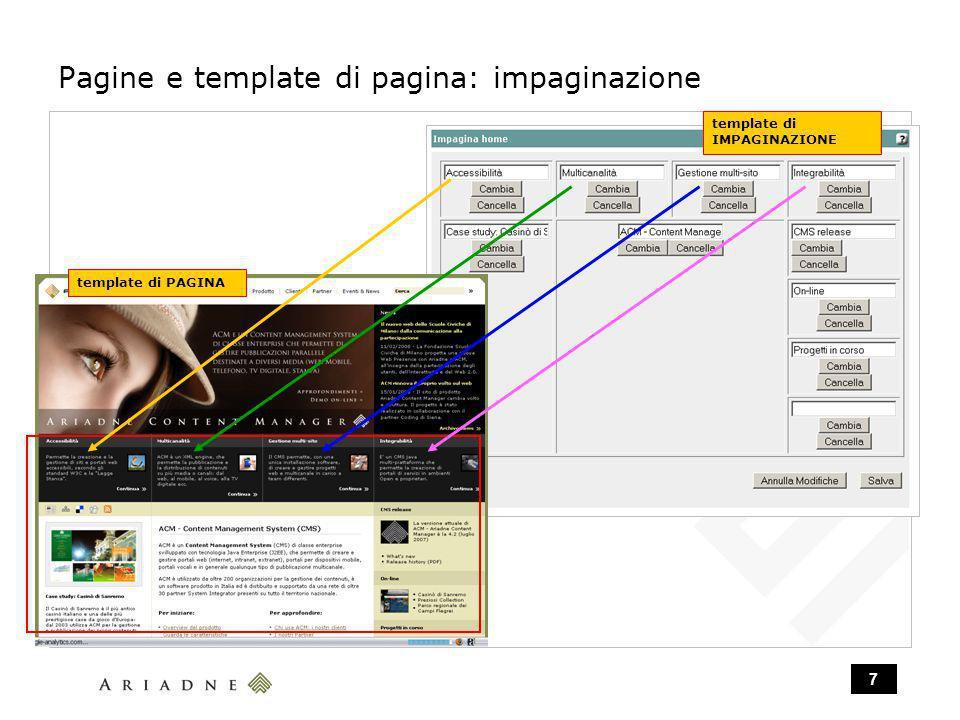 7 Pagine e template di pagina: impaginazione template di IMPAGINAZIONE template di PAGINA
