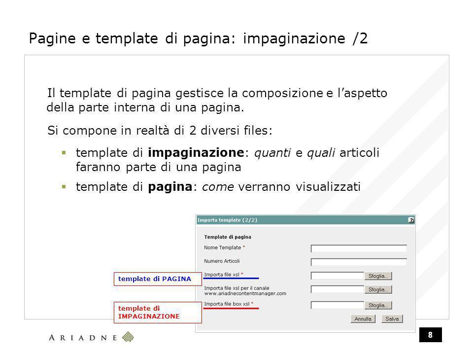 8 Pagine e template di pagina: impaginazione /2 Il template di pagina gestisce la composizione e laspetto della parte interna di una pagina.