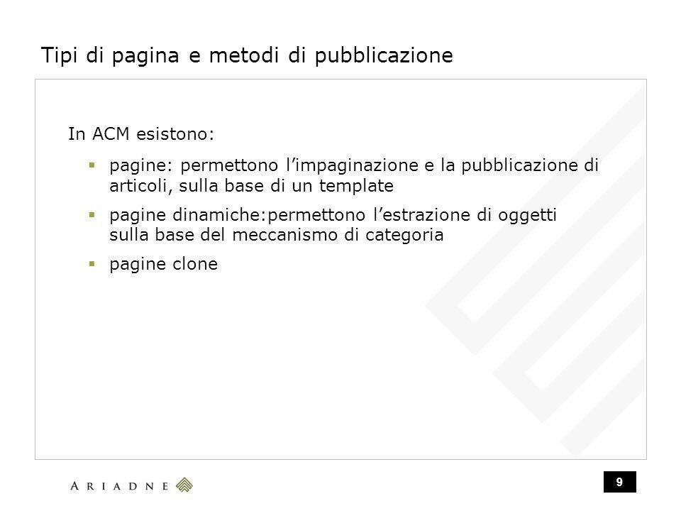 9 Tipi di pagina e metodi di pubblicazione In ACM esistono: pagine: permettono limpaginazione e la pubblicazione di articoli, sulla base di un template pagine dinamiche:permettono lestrazione di oggetti sulla base del meccanismo di categoria pagine clone