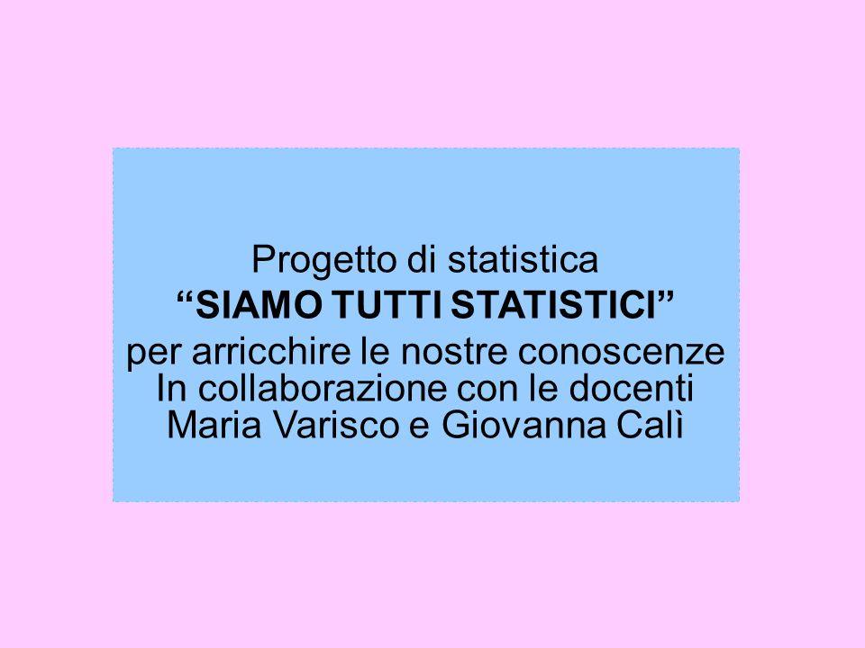 Progetto di statistica SIAMO TUTTI STATISTICI per arricchire le nostre conoscenze In collaborazione con le docenti Maria Varisco e Giovanna Calì