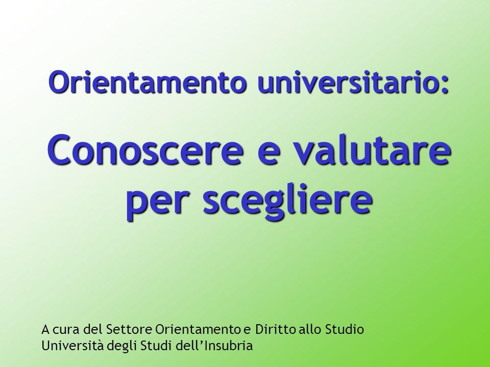 la struttura dei corsi universitari le modalità di accesso gli strumenti per ricercare informazioni lofferta formativa dellUniversità degli Studi dellInsubria Conoscere