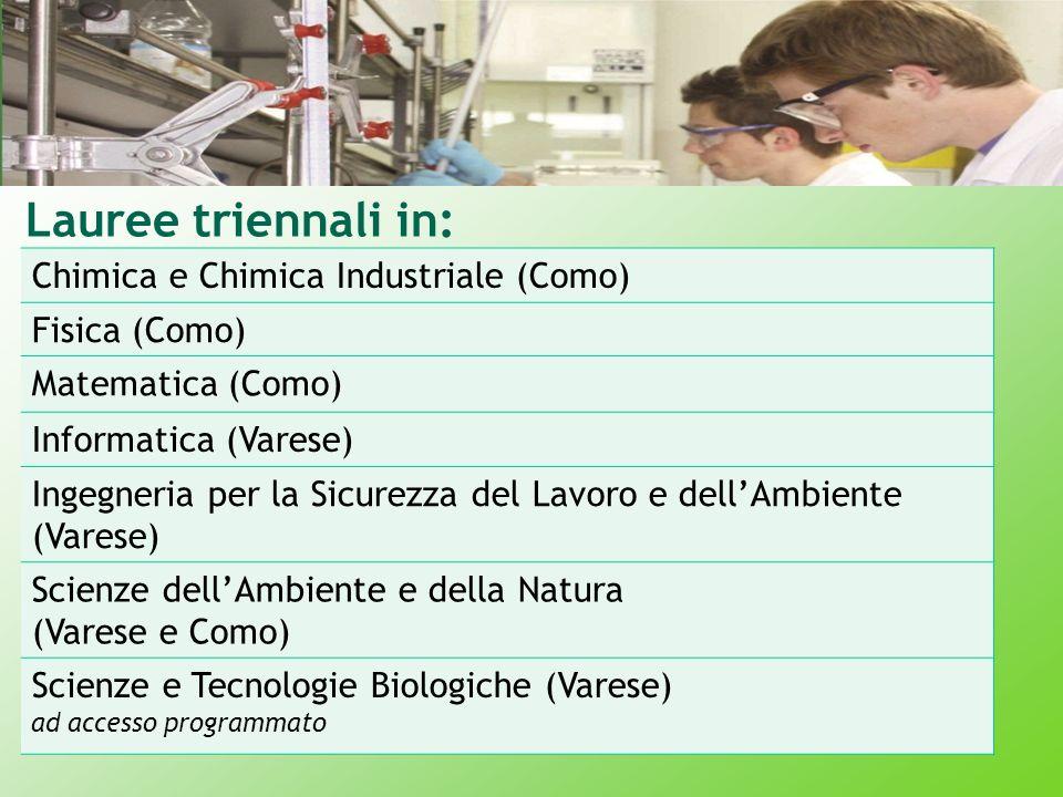 Lauree triennali in: Chimica e Chimica Industriale (Como) Fisica (Como) Matematica (Como) Informatica (Varese) Ingegneria per la Sicurezza del Lavoro