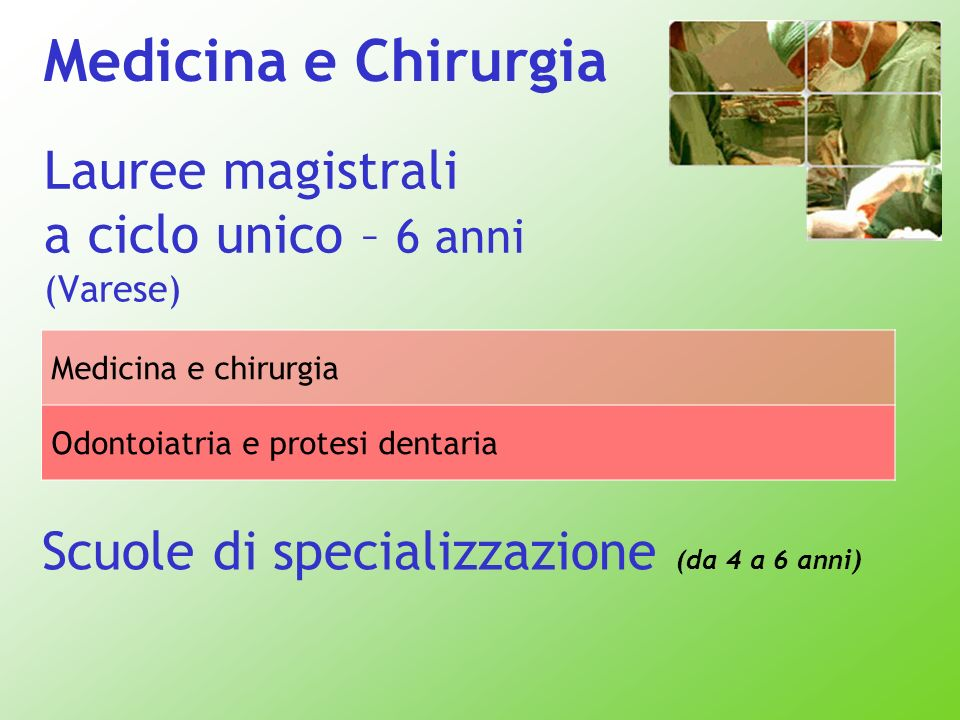 Lauree magistrali a ciclo unico – 6 anni (Varese) Scuole di specializzazione (da 4 a 6 anni) Medicina e chirurgia Odontoiatria e protesi dentaria Medi
