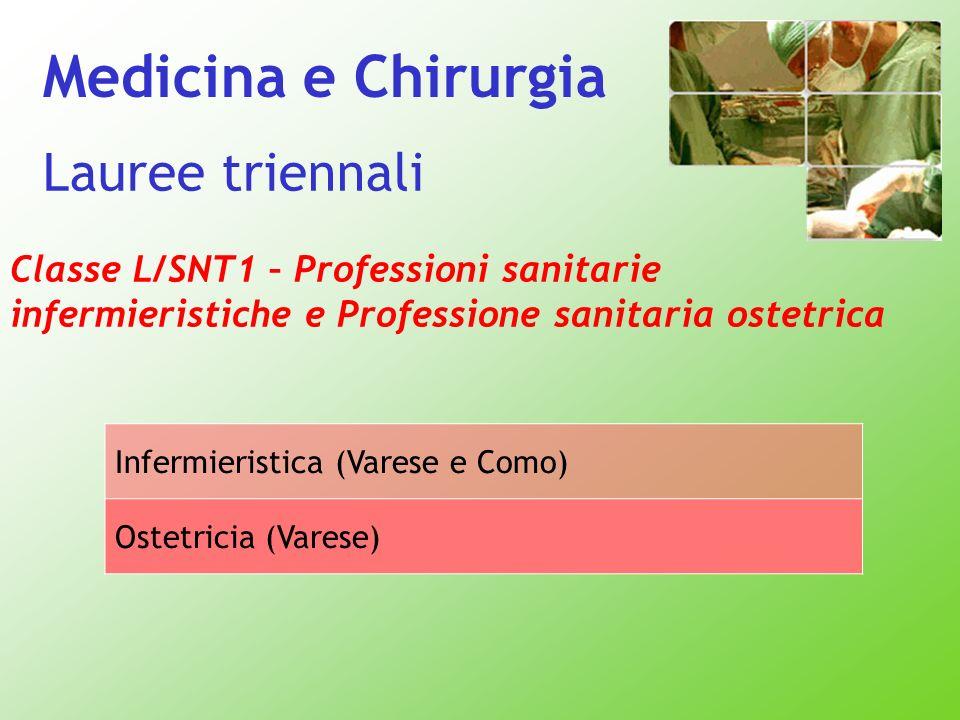 Lauree triennali Classe L/SNT1 – Professioni sanitarie infermieristiche e Professione sanitaria ostetrica Infermieristica (Varese e Como) Ostetricia (