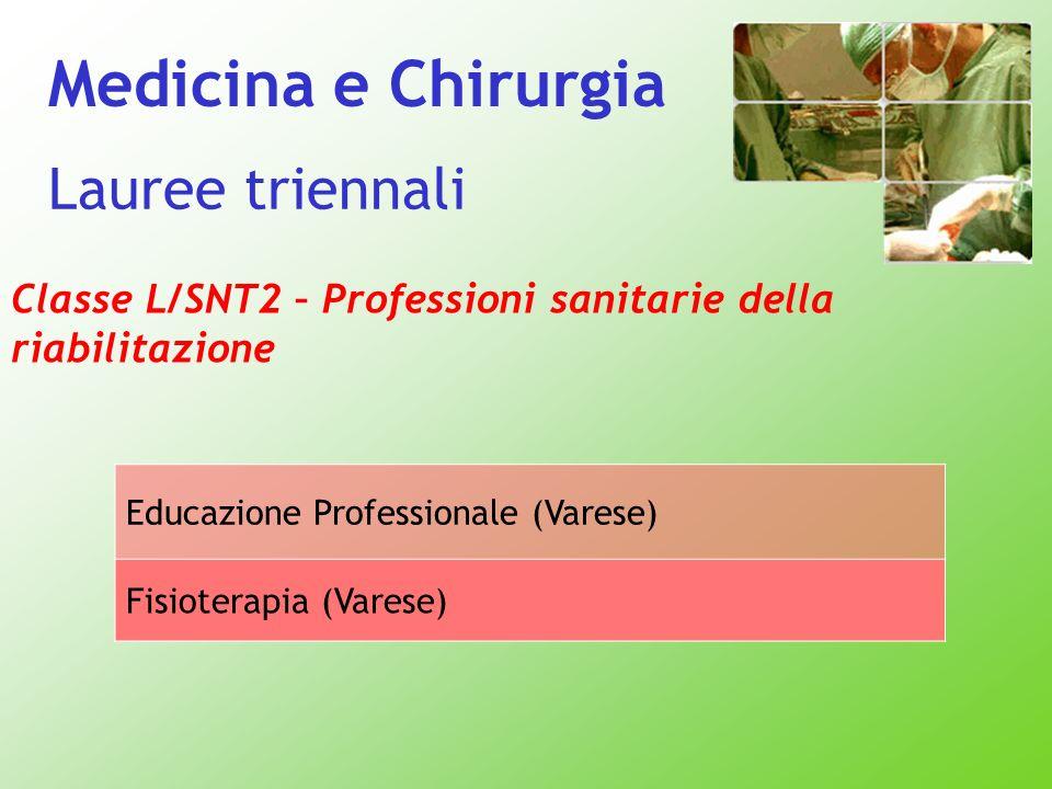Classe L/SNT2 – Professioni sanitarie della riabilitazione Educazione Professionale (Varese) Fisioterapia (Varese) Lauree triennali Medicina e Chirurg