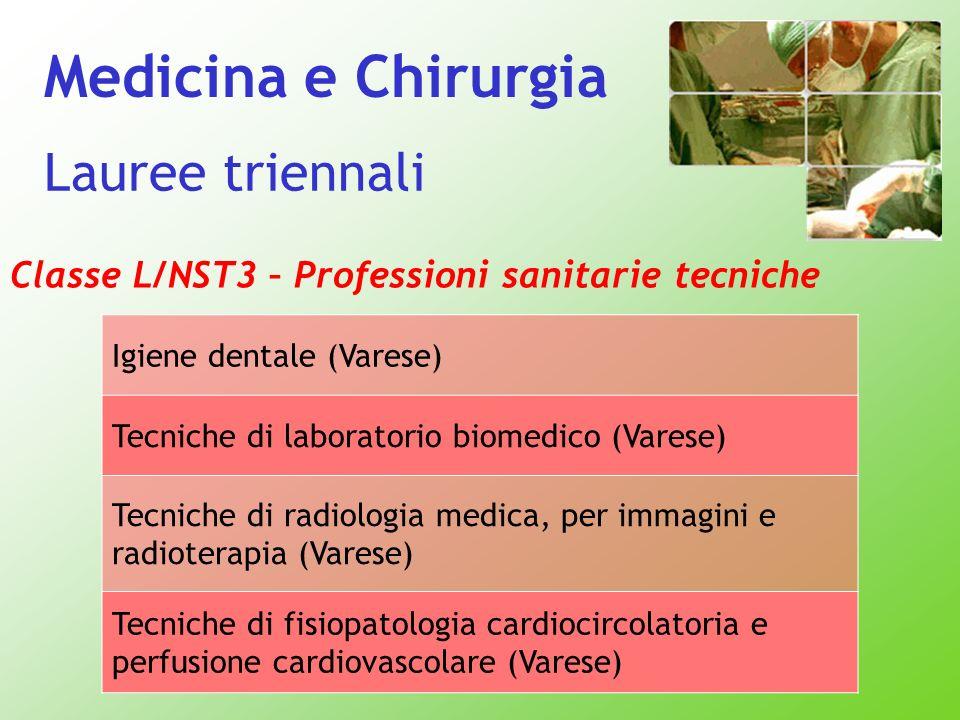 Classe L/NST3 – Professioni sanitarie tecniche Igiene dentale (Varese) Tecniche di laboratorio biomedico (Varese) Tecniche di radiologia medica, per i