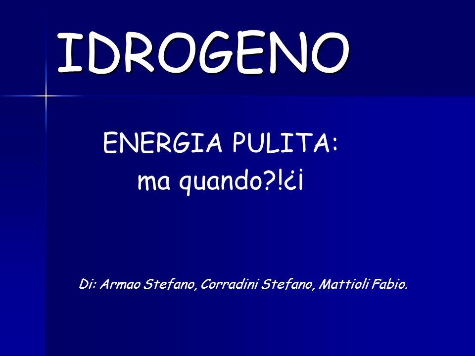 IDROGENO ENERGIA PULITA: ma quando?!¿¡ Di: Armao Stefano, Corradini Stefano, Mattioli Fabio.