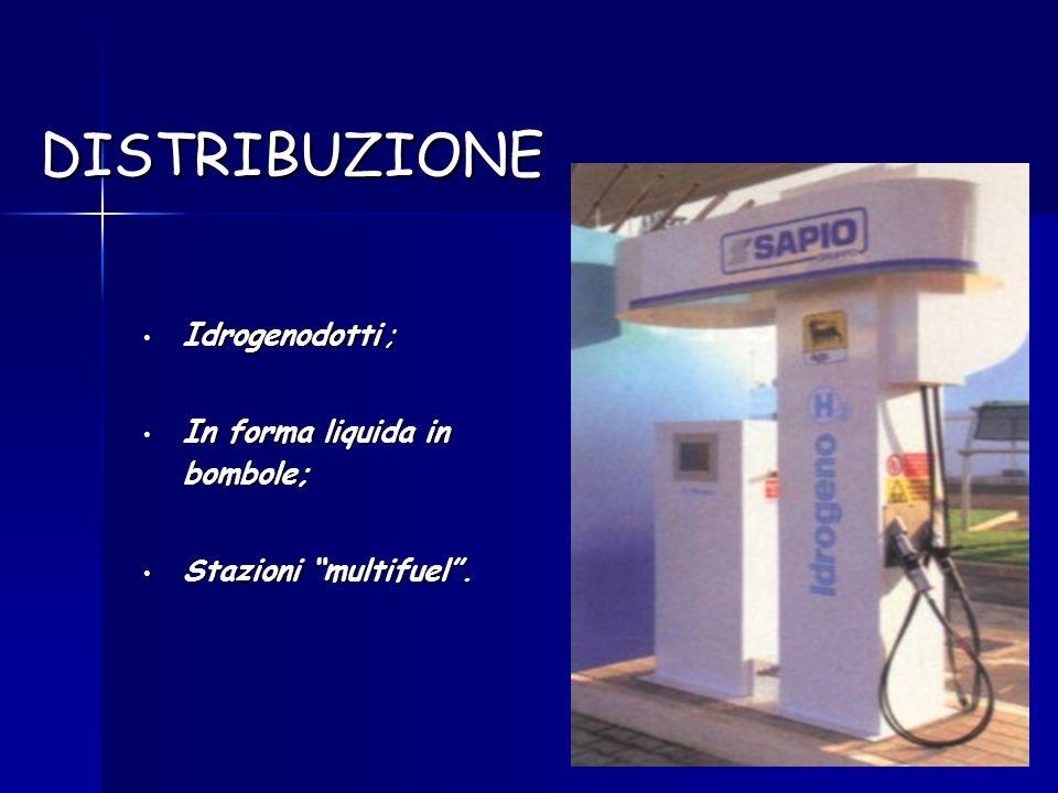 DISTRIBUZIONE Idrogenodotti ; Idrogenodotti ; In forma liquida in bombole; In forma liquida in bombole; Stazioni multifuel. Stazioni multifuel.