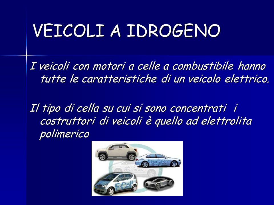 VEICOLI A IDROGENO I veicoli con motori a celle a combustibile hanno tutte le caratteristiche di un veicolo elettrico. Il tipo di cella su cui si sono
